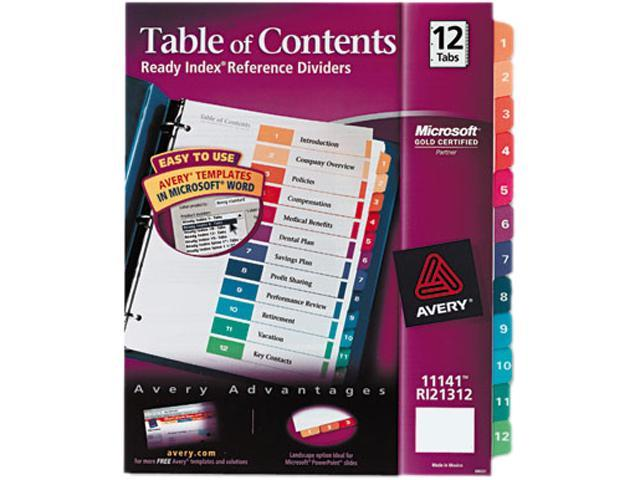 Ready Index Customizable Table of Contents Multicolor Dividers 12-Tab Letter