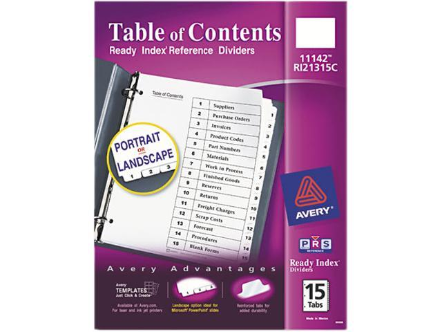 Avery 11142 Ready Index Classic Tab Titles, 15-Tab, 1-15, Letter, Black/White, 15/Set