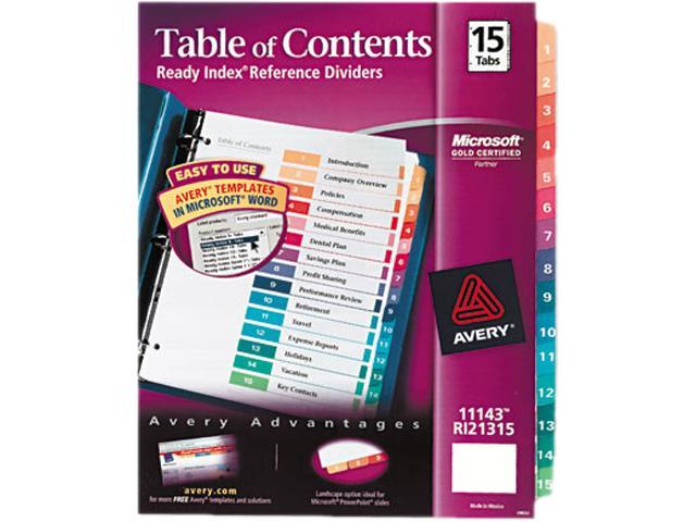 Avery 11143 Ready Index Contemporary Table of Contents Divider, 1-15, Multi, Letter