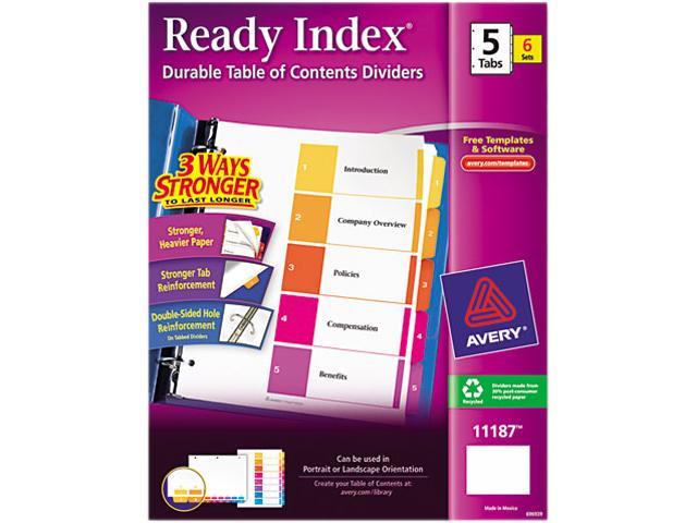 Avery 11187 Ready Index Contemporary Contents Divider, 1-5, Multicolor, Letter, 6 Sets