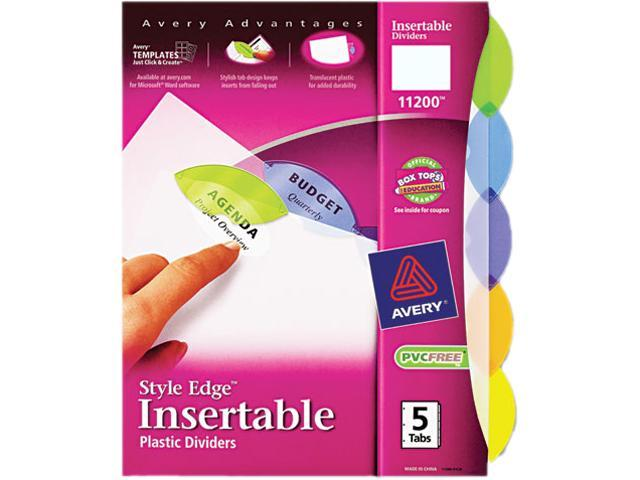 Insertable Style Edge Tab Plastic Dividers 5-Tab Letter