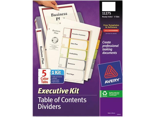 Avery 11275 Ready Index Contents Dividers, 5-Tab, 1-5, Letter, Multicolor, Set of 5