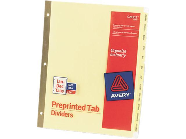 Avery 11307 Gold Reinforced Laminated Tab Dividers, 12-Tab, Months, Letter, Buff, 12/Set