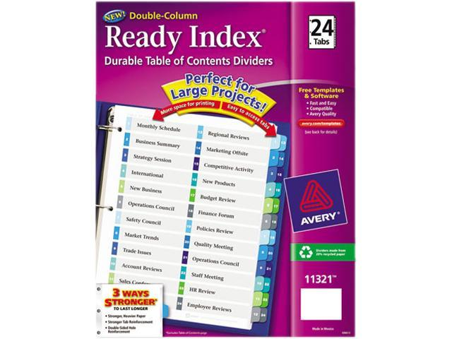 Avery 11321 Ready Index Two-Column Table of Contents Divider, Title: 1-24, Multi, Letter