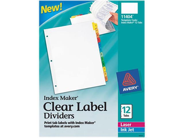 Avery 11404 Index Maker Dividers, Multicolor 12-Tab, Letter