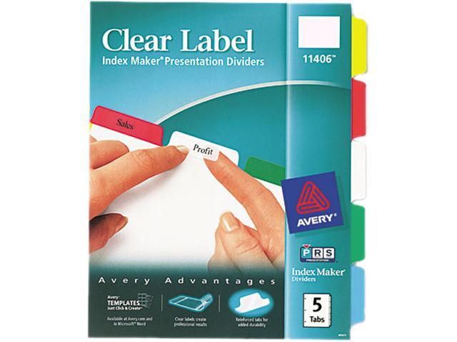 Index Maker Print & Apply Clear Label Dividers w/Color Tabs 5-Tab Letter