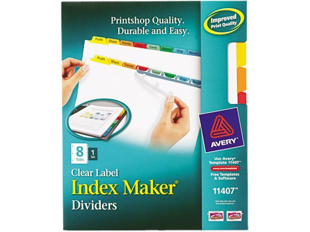 Avery 11407 Index Maker White Dividers, Multicolor 8-Tab, Letter