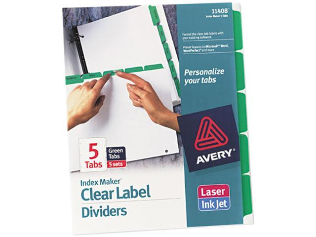 Avery 11408 Index Maker Divider w/Color Tabs, Green 5-Tab, Letter, 5 Sets/Pack