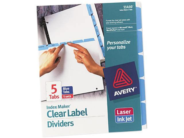 Avery 11410 Index Maker Divider w/Color Tabs, Blue 5-Tab, Letter, 5 Sets/Pack