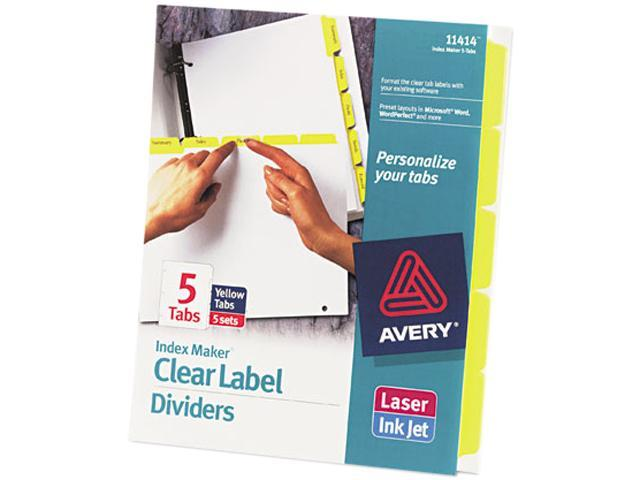 Avery 11414 Index Maker Divider w/Color Tabs, Yellow 5-Tab, Letter, 5 Sets/Pack