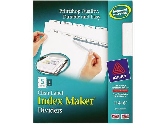 Avery 11416 Index Maker Clear Label Dividers, 5-Tab, Letter, White