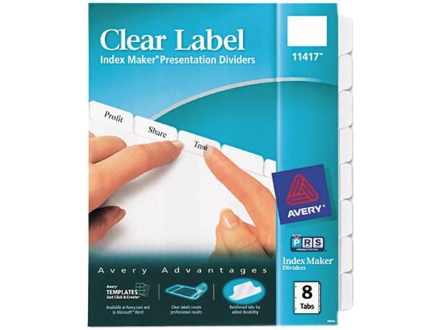 Avery 8 Tab Clear Label Dividers Template Costumepartyrun