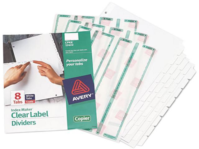 Avery 11422 Index Maker White Dividers For Copiers, 8-Tab, Letter, Clear, 5 Sets/Pack