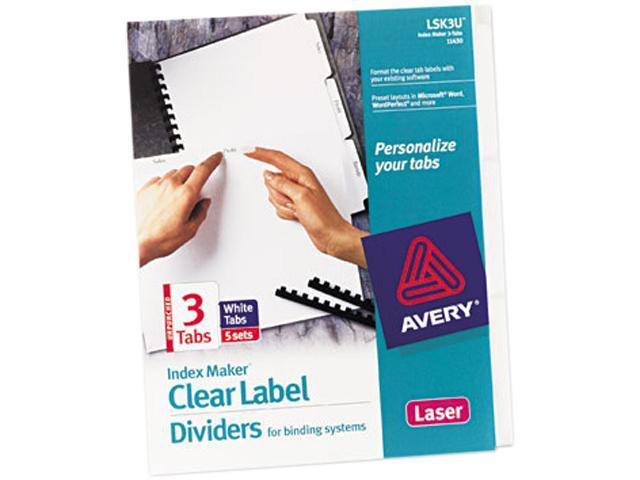 Avery 11430 Index Maker Clear Label Unpunched Divider, 3-Tab, Letter, White, 5 Sets