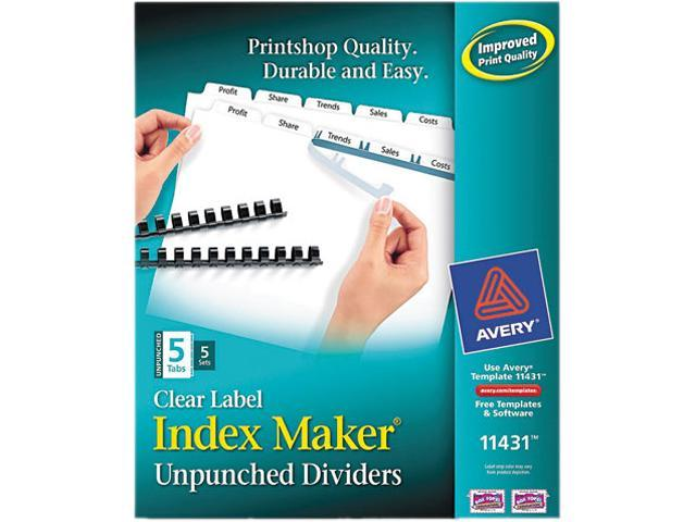 Avery 11431 Index Maker Clear Label Unpunched Divider, 5-Tab, Letter, White, 5 Sets