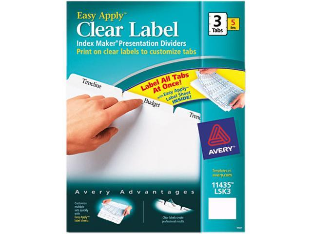 Avery 11435 Index Maker Clear Label Dividers, 3-Tab, Letter, White, 5 Sets