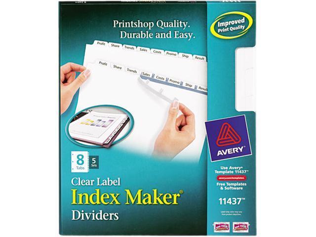 Avery 11437 index maker clear label dividers 8 tab for Letter label maker