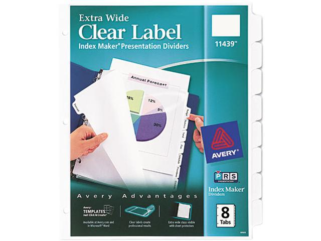 Avery 11439 Index Maker Clear Label Dividers, 8-Tab, 11 1/4 x 9 1/4, White