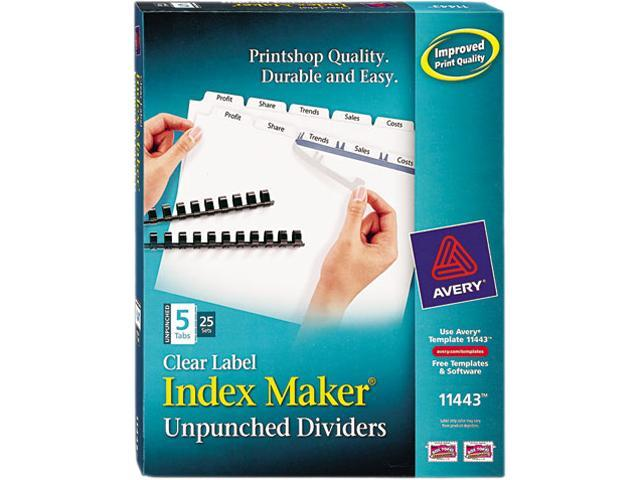 Avery 11443 Index Maker Clear Label Unpunched Divider, 5-Tab, Letter, White, 25 Sets
