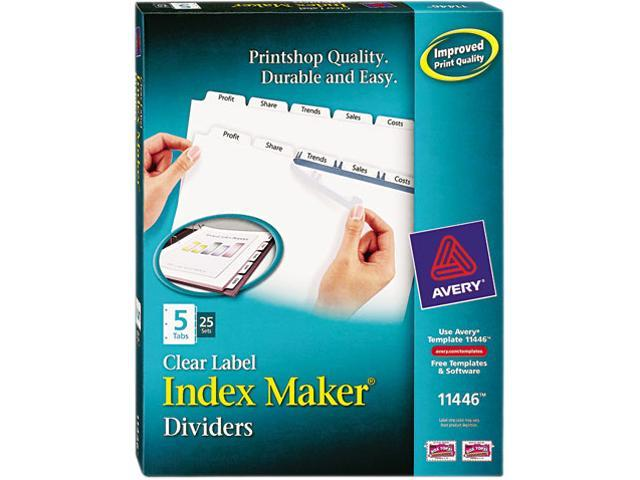 Avery 11446 - Index Maker Clear Label Dividers, 5-Tab, Letter, White, 25 Sets