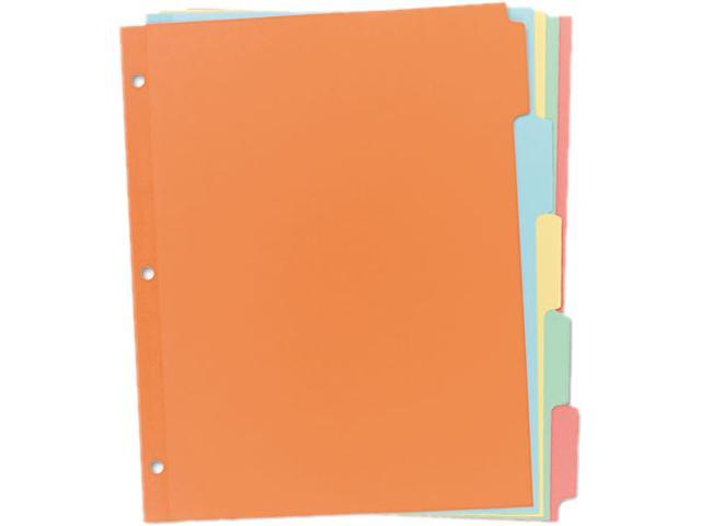 Avery 11508 Write-On Plain Tab Dividers, Five Multicolor Tabs, Letter, Salmon, 36 Sets