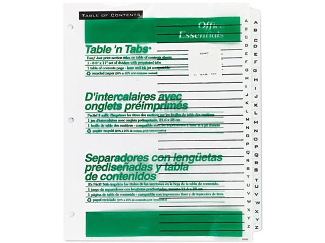 Avery 11676 Office Essentials Table 'N Tabs Dividers, 26-Tab, A-Z, Letter, White, 1 Set
