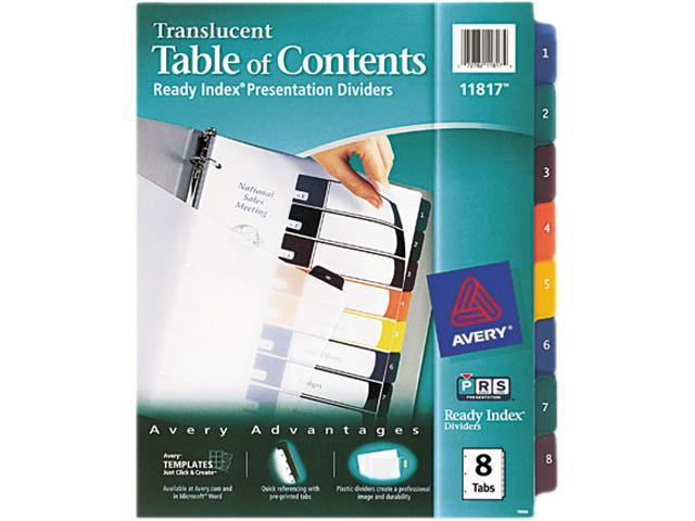 Avery 11817 Ready Index Table/Contents Dividers, 8-Tab, Letter, Assorted, 8/Set