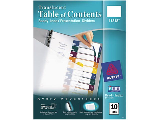 Avery 11818 Ready Index Table/Contents Dividers, 10-Tab, Letter, Assorted, 10/Set