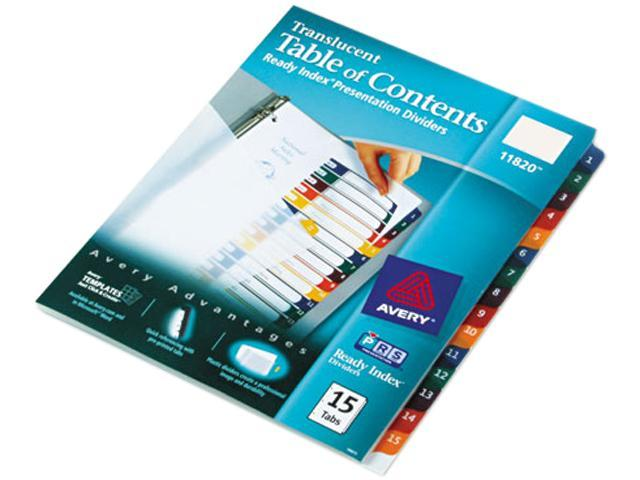 Avery 11820 Ready Index Table/Contents Dividers, 15-Tab, Letter, Assorted, 15/Set