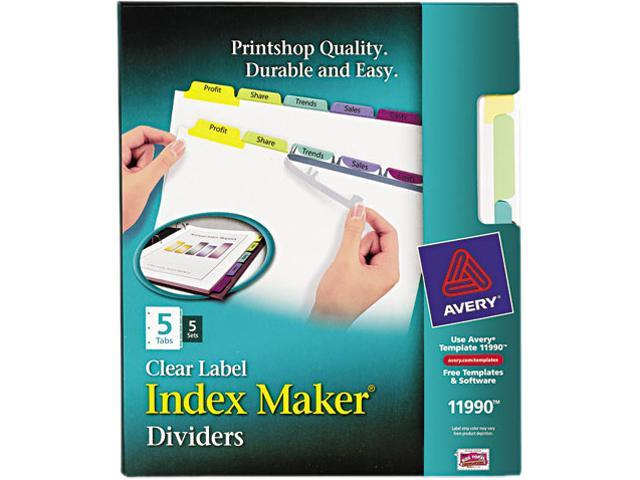 Avery 11990 Index Maker Clear Label Contemporary Color Dividers, 5-Tab, 5 Sets/Pack