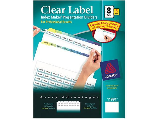 Avery 11991 Index Maker Clear Label Contemporary Color Dividers, 8-Tab, 5 Sets/Pack