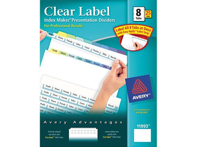 Avery 11993 Index Maker Clear Label Contemporary Color Dividers, 8-Tab, 25 Sets/Box