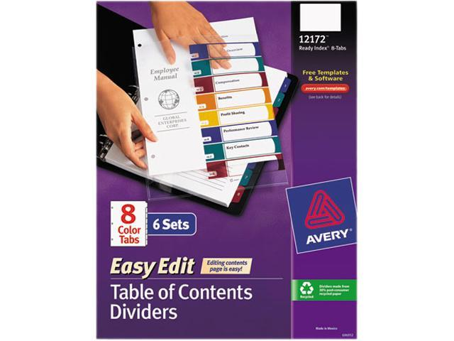 Avery 12172 Ready Index Customizable Table of Contents, Asst Dividers, 8-Tab, Ltr, 6 Sets