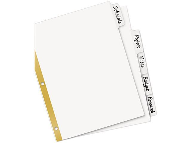 Avery 23075 Big Tab Write-On Dividers w/Erasable Laminated Tabs, White, 5/Set