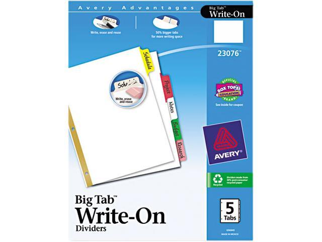 Avery 23076 Big Tab Write-On Dividers w/Erasable Laminated Tabs, Clear, 5/Set