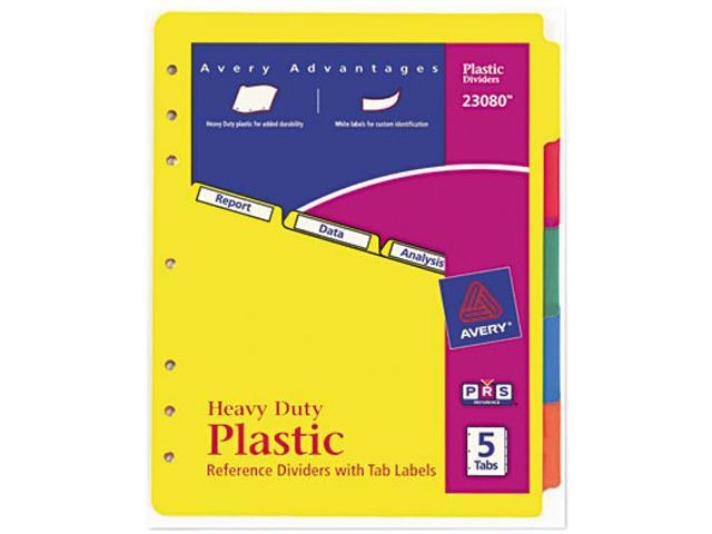 Avery 23080 Plastic Index Dividers, White Self-Stick Labels, 5-Tab, Letter, 1 Set