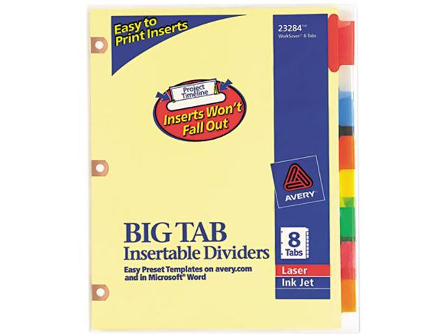 Avery 23284 WorkSaver Big Tab Dividers w/CPR Holes, Eight Multicolor Tabs, Letter, Buff