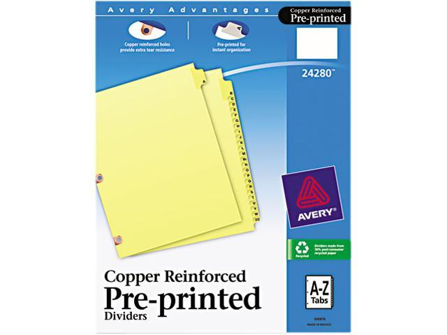Avery 24280 Copper Reinforced Laminated Tab Dividers, 25-Tab, A-Z, Letter, Buff, 25/Set