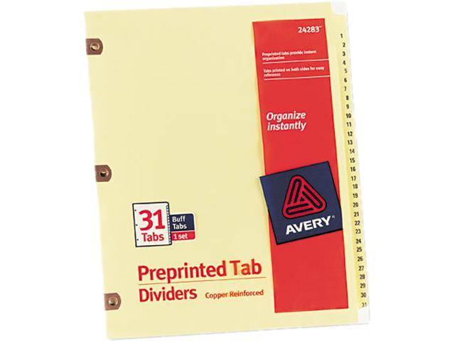 Avery 24283 Copper Reinforced Laminated Tab Dividers, 31-Tab, 1-31, Letter, Buff, 31/Set