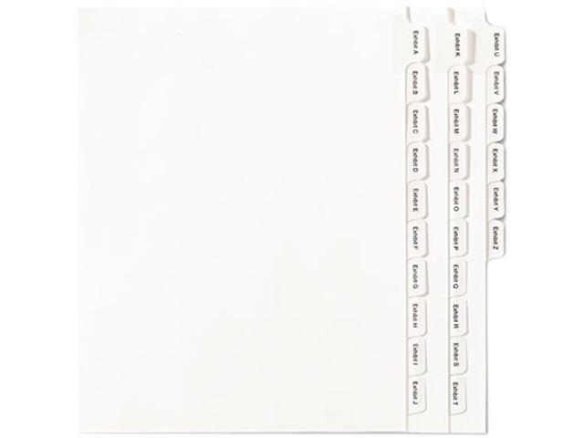 Avery 82105 Allstate-Style Legal Index Dividers, 25-Tab, Exhibit A-Z, Letter, White, 26/Pack