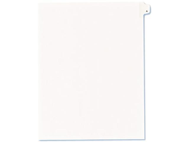 Avery 82163 Allstate-Style Legal Side Tab Divider, Title: A, Letter, White, 25/Pack