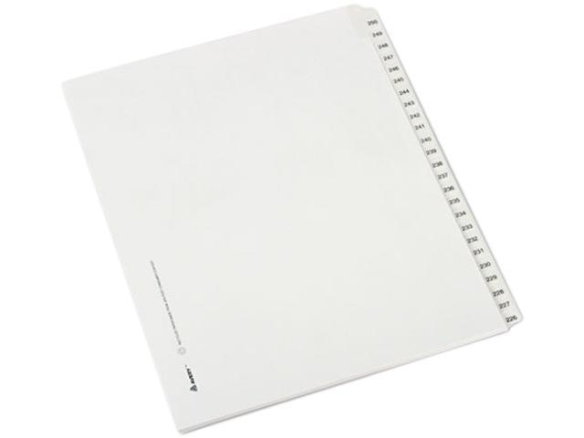 Avery 82192 Allstate-Style Legal Side Tab Dividers, 25-Tab, 226-250, Letter, White, 25/Set
