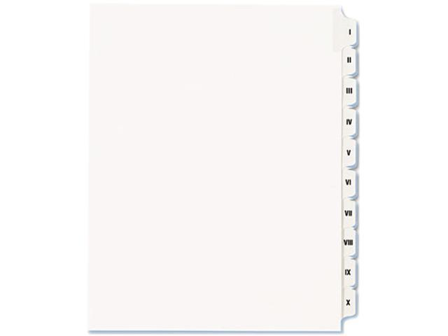 Avery 82319 Allstate-Style Legal Side Tab Dividers, 25-Tab, I-X, Letter, White, 25/Set