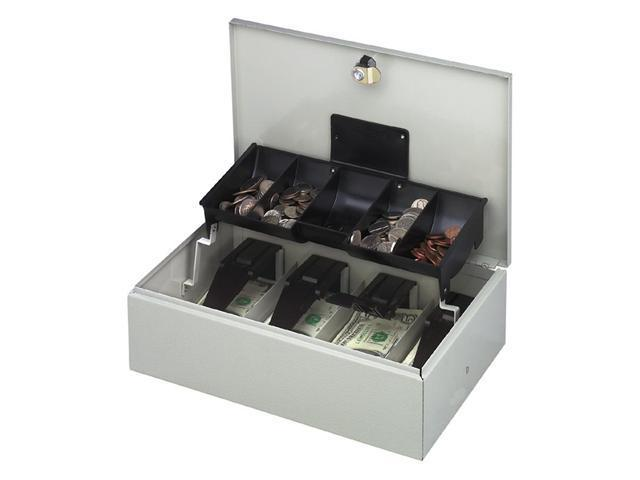 Buddy Products 5522-32 Steel Cash Controller Box with Five Compartments, Wafer Tumbler Lock, Platinum