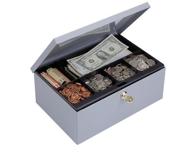 STEELMASTER by MMF Industries 221618001 Heavy-Duty Steel Low-Profile Cash Box w/6 Compartments, Key Lock, Gray