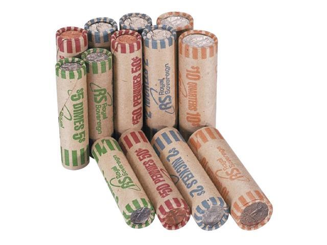 Royal Sovereign FSW-216N Preformed Tubular Coin Wrappers, 54 Each Pennies/Nickels/Dimes/Quarters, 216/Box