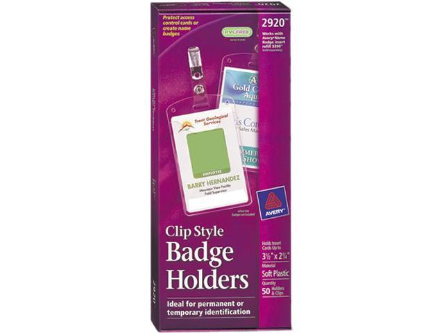 Avery 2920 Photo ID Badge Holder, Vertical, 2 1/4w x 3 1/2h, Clear, 50/Box