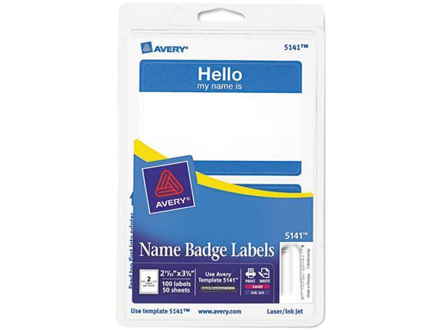 Avery 5141 Print/Write Self-Adhesive Name Badges, 2-11/32 x 3-3/8, Blue, 100/Pack