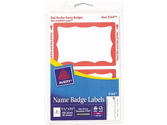 Avery 5143 Print/Write Self-Adhesive Name Badges, 2-11/32 x 3-3/8, Red, 100/Pack
