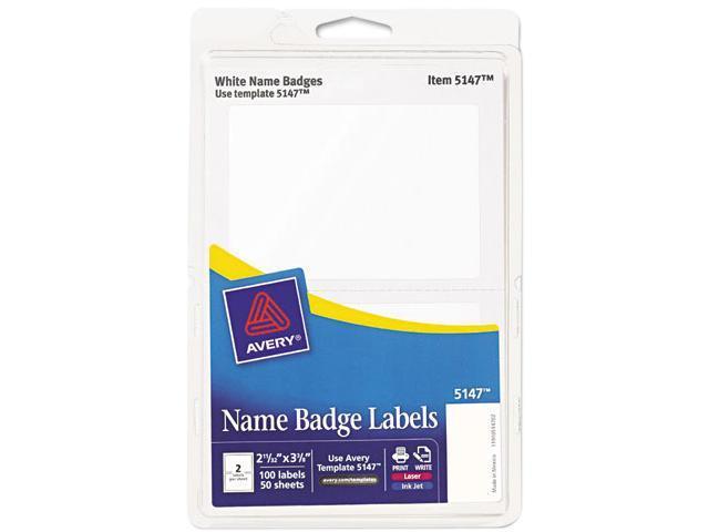 Avery 5147 Print/Write Self-Adhesive Name Badges, 2-11/32 x 3-3/8, White, 100/Pack